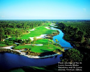 Arial view of PGA 8th hole in Port St Lucie, Florida.